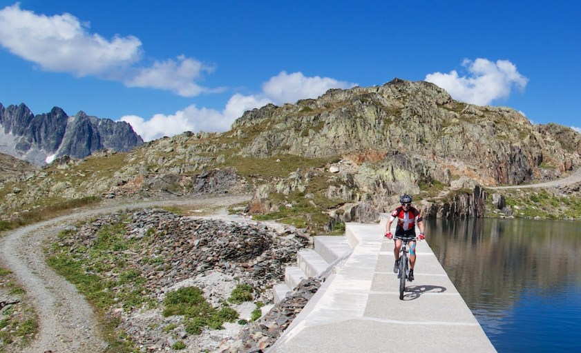 Riding across one of the dams