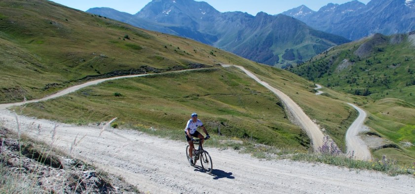The road down to Sestriere from Col Basset - 2426 metres