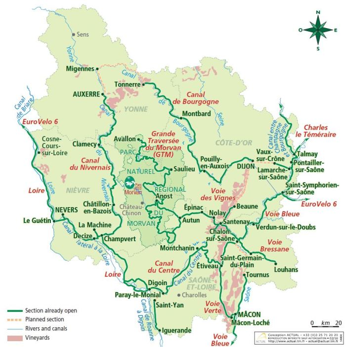 Official Map of Burgundy Bike Network
