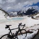 Frozen lake at summit