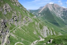 Colle delle Finestre in distance below