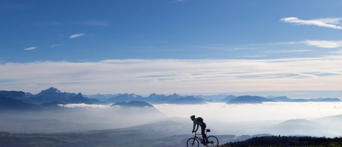 Lake Annecy in distance behind me, below the clouds
