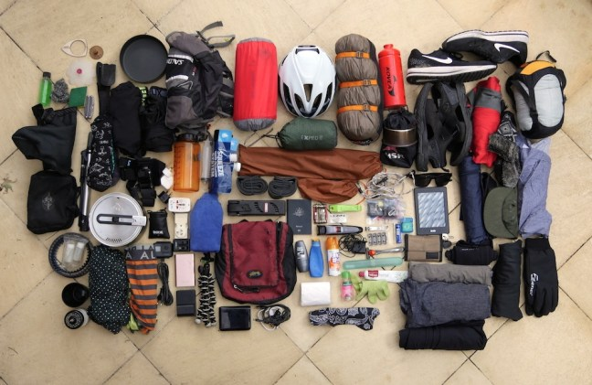 25kg of clothing, toiletries, cooking gear, bags and tents.