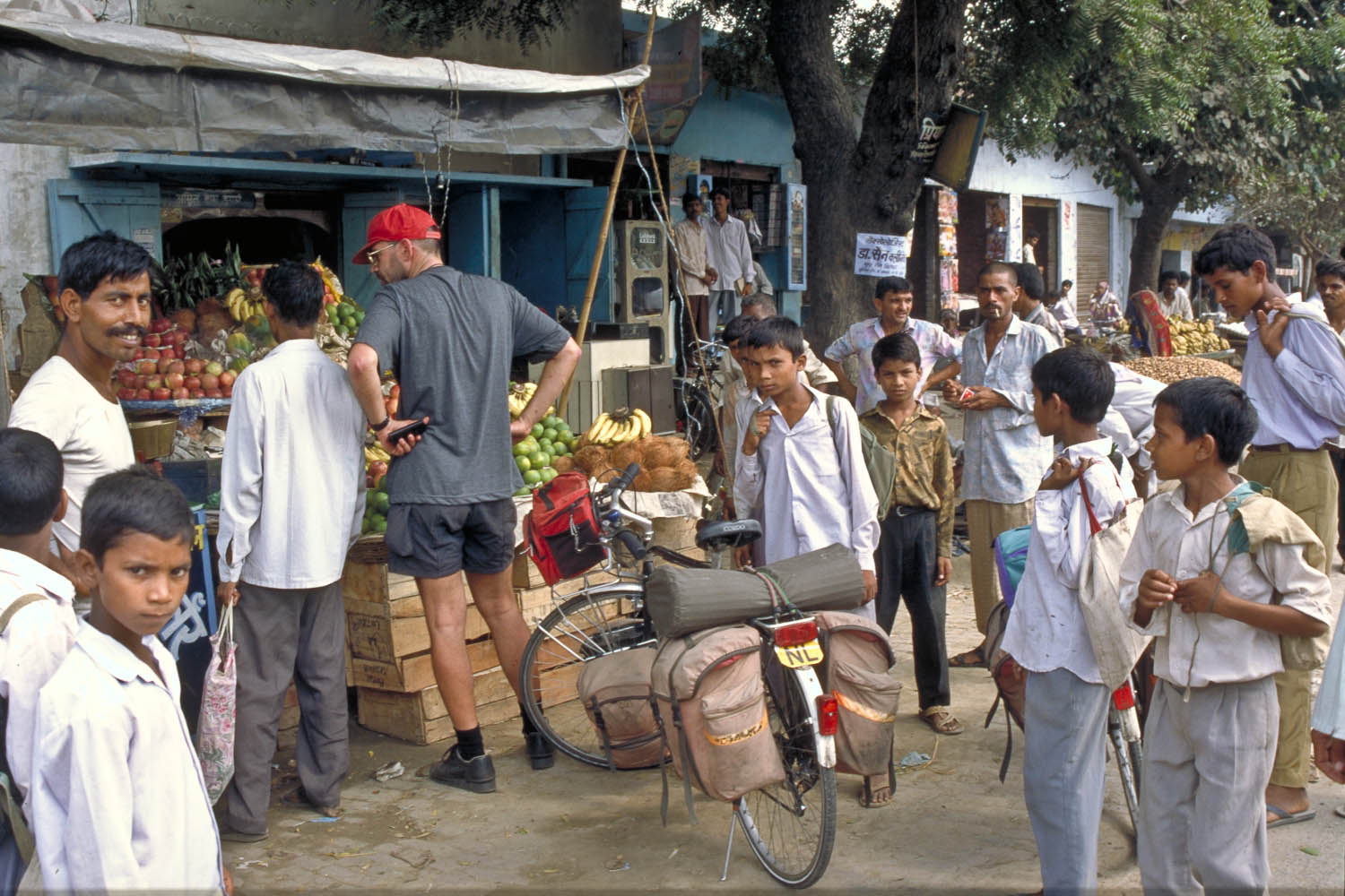 shopping at the fruit stall