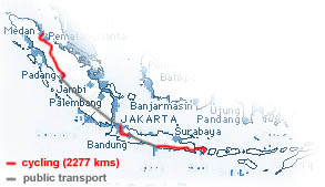 our route in Indonesia