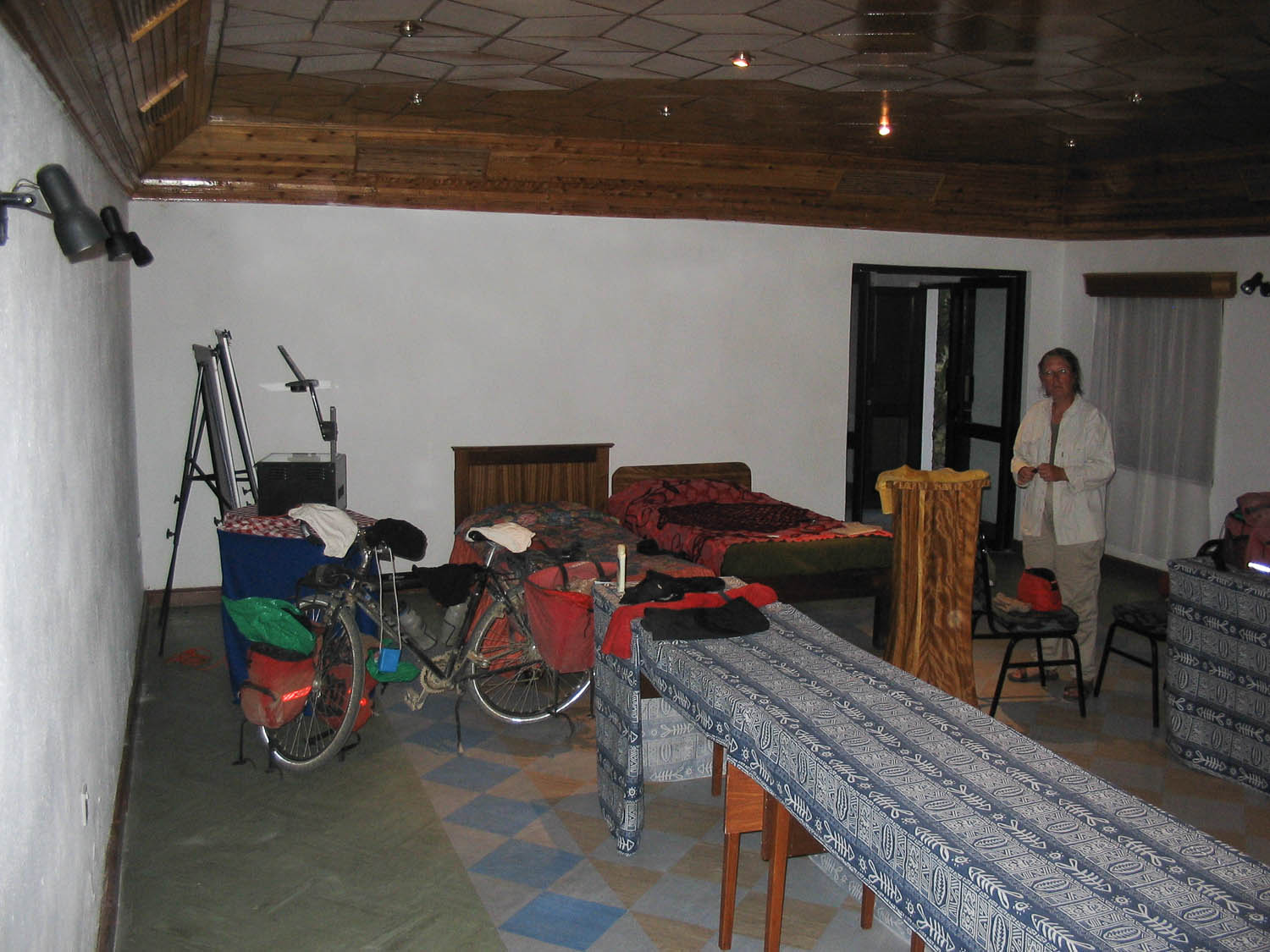 Sleeping in the conference hall of a luxury Kenya hotel