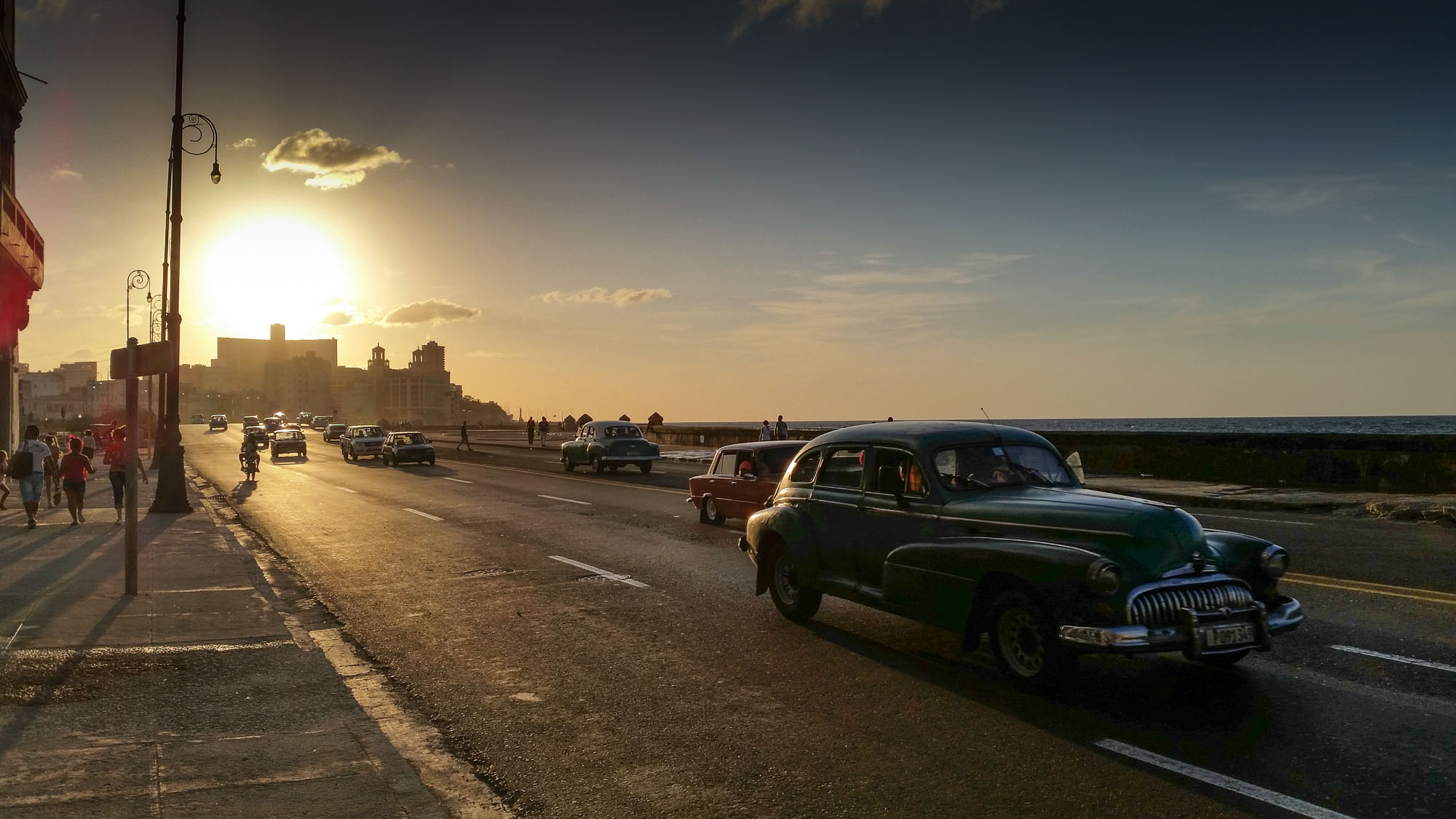 Late afternoon on the Malecon, the seaside boulevard of Havana