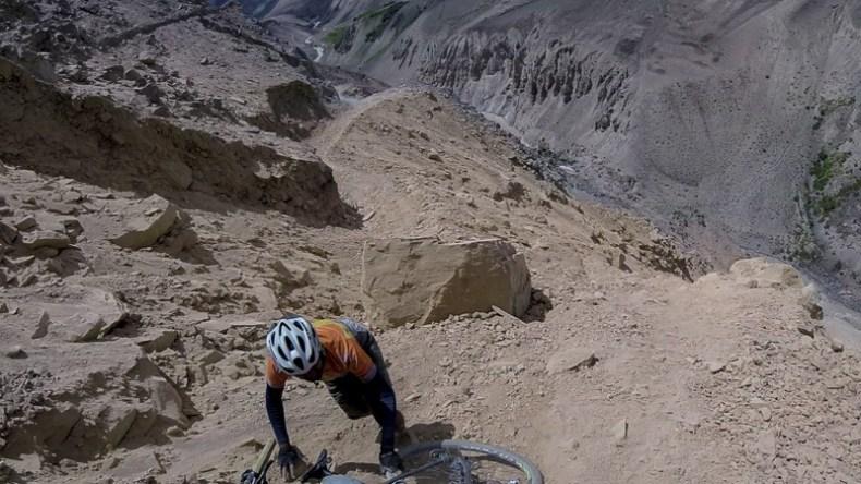 Landslide crossing in Zanskar Valley