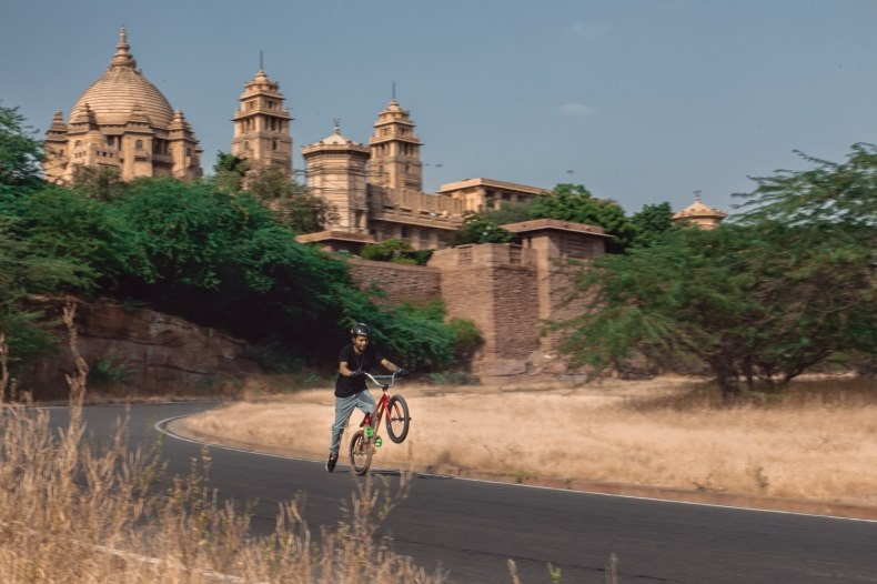 Cycling outside Mehrangarh Fort Jodhpur