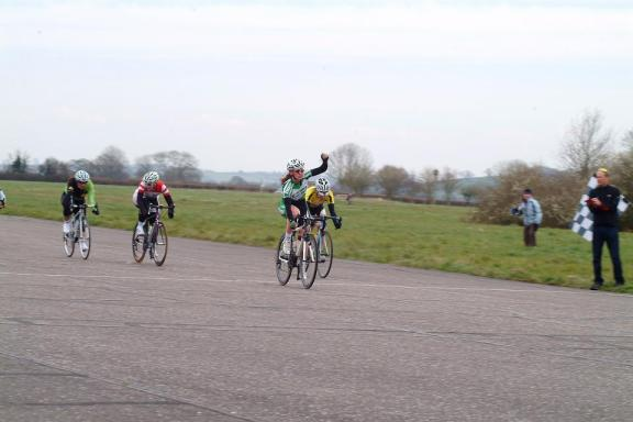 The finish- Adele Martin takes the win, myself in 2nd, Laura Clode 3rd and Katie Curtis in 4th.