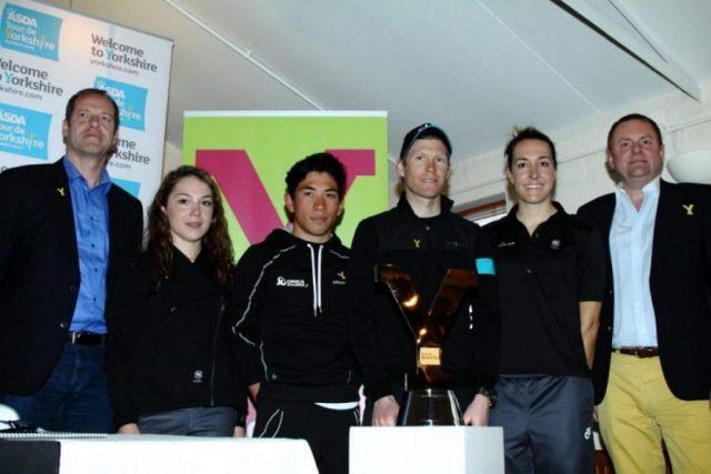L-R: Christian Prudhomme, Lucy Garner, Caleb Ewan, Lars-Petter Nordhaug, Dani King & Sir Gary Verity.