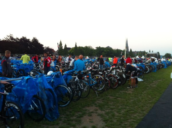 Bike transition - bikes are racked the day before the race