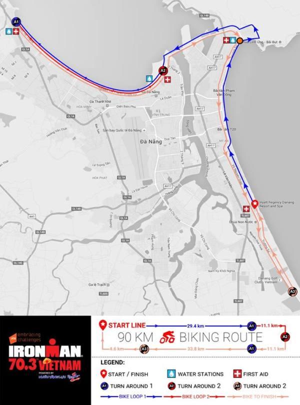 90 km Ironman 70.3 Da Nang bike course, Vietnam