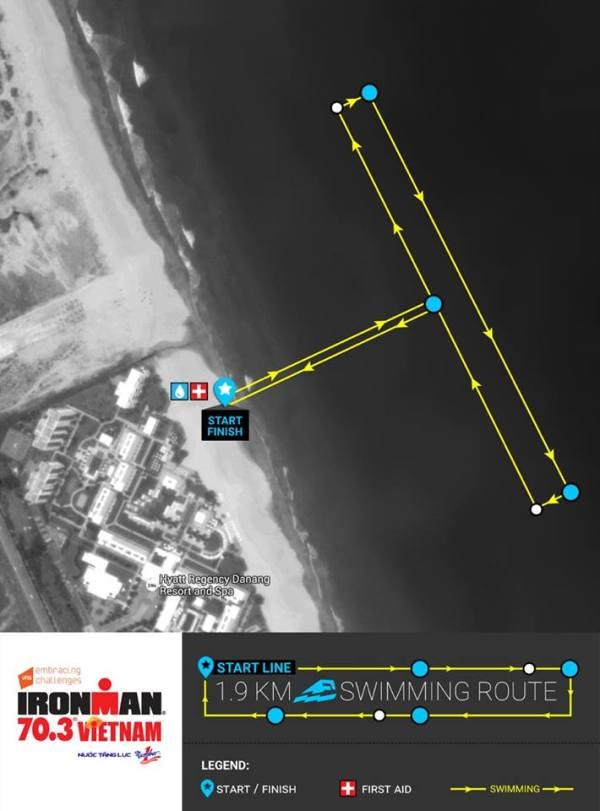1.9km Ironman 70.3 Da Nang swim course, Vietnam