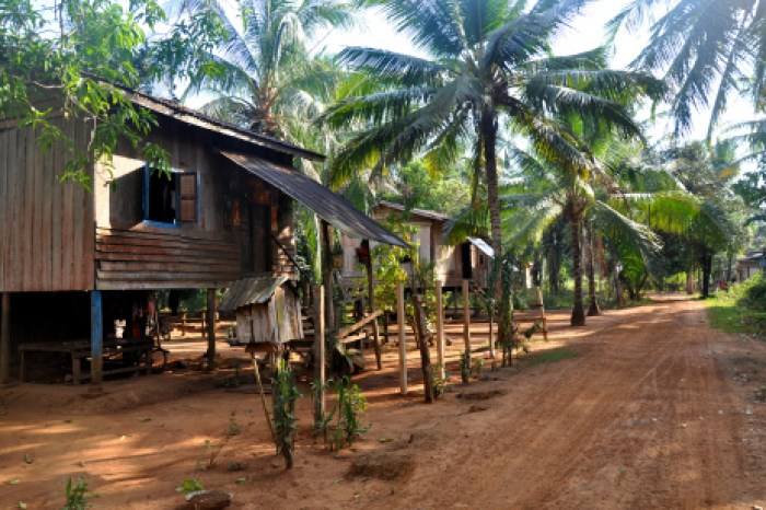 Unsealed roads and village life in Cambodia