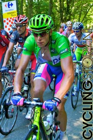 Groene truidrager Petacchi (foto: © Laurens Alblas/Cyclingstory.nl)