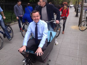 Minister Brian Hayes takes a ride
