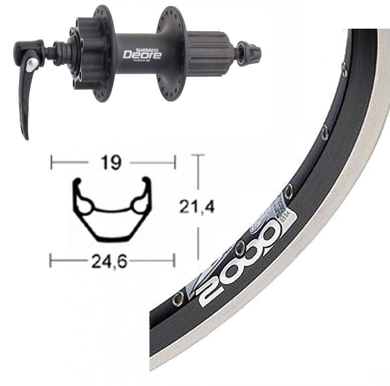 roue arriere 700 mm avec moyeu shimano deore pour frein a disque 6 trous et jante rigida zac 2000 disc