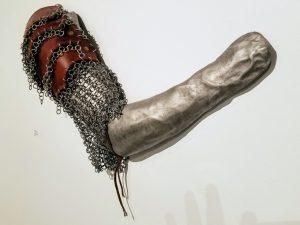 Hercules Arm - Leather, Aluminum, & Steel Sculpture by Adam Nahas from Cyclops Studios