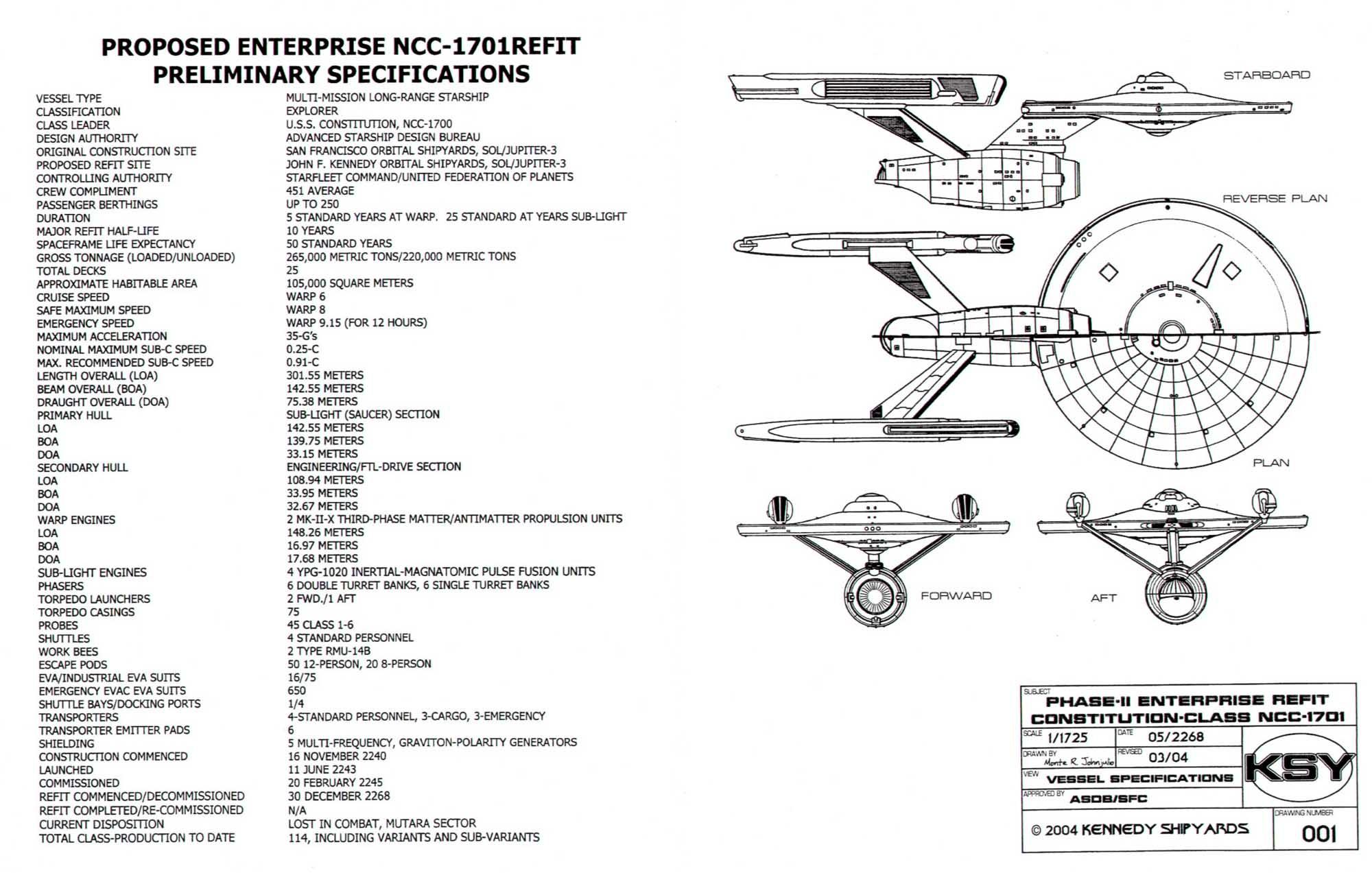 Star Trek Blueprints Starship U S S Enterprise Ncc
