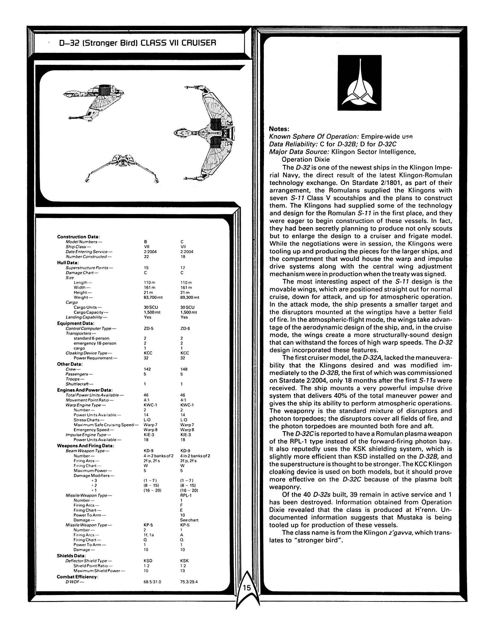 Star Trek Blueprints: FASA Klingon Ship Recognition Manual