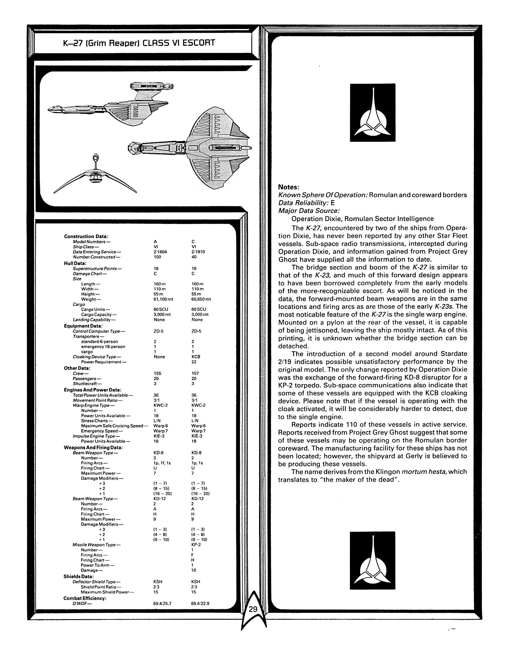 Star Trek Blueprints: FASA Klingon Ship Recognition Manual