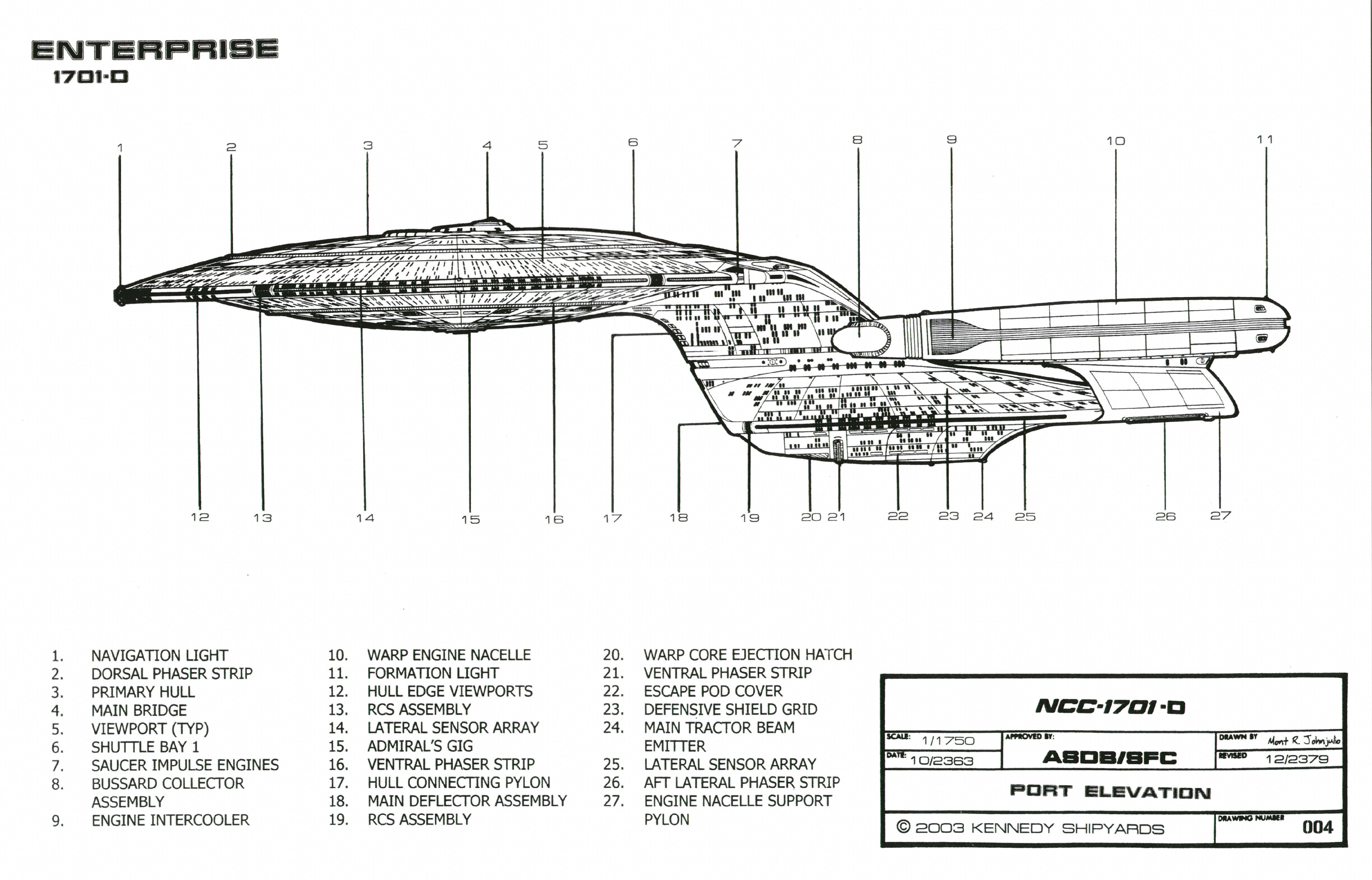 Icars Schematic Of Saucer Section Of U.s.s. Enterprise Ncc