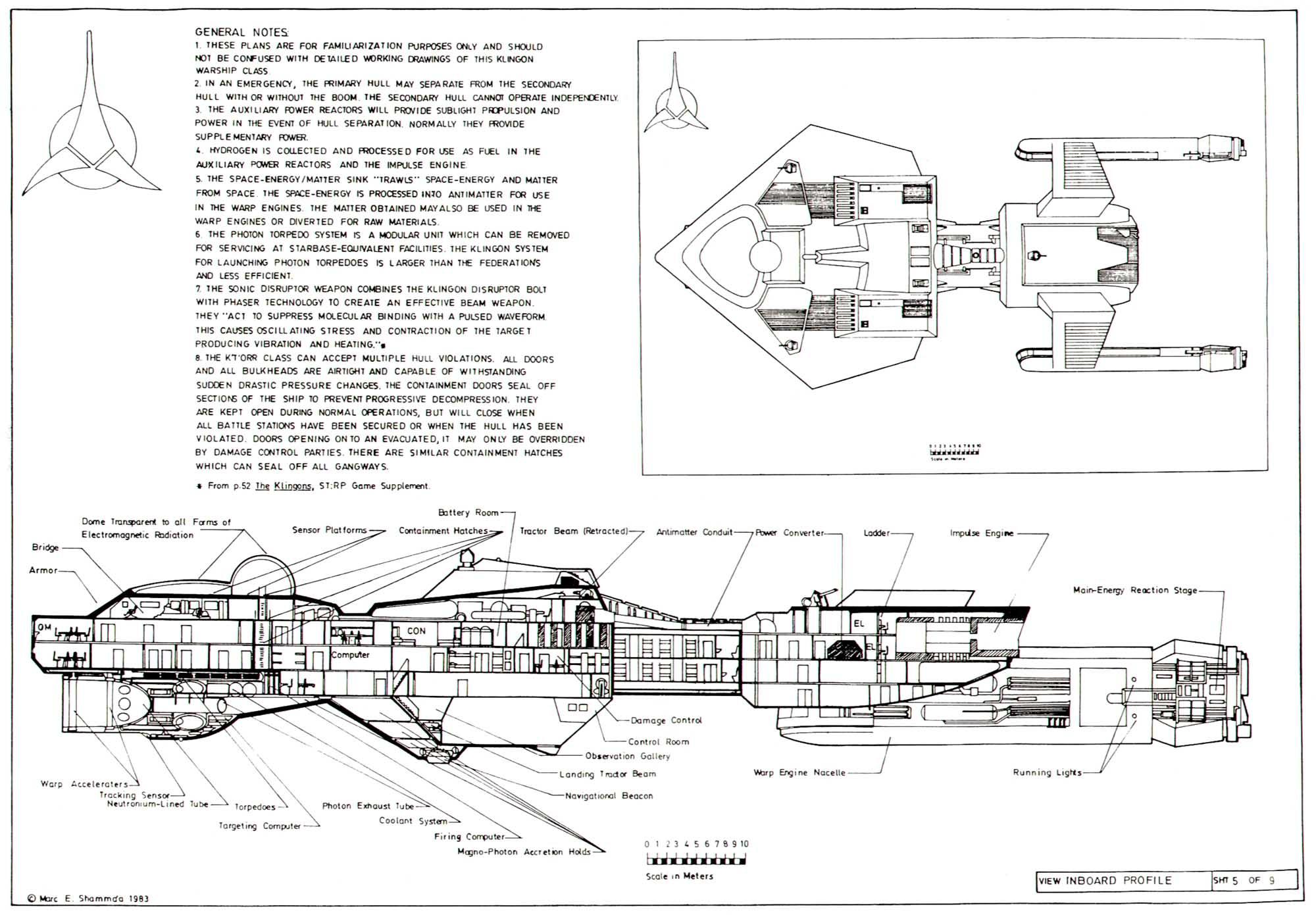Star Trek Blueprints Klingon Destroyer K T Orr Class
