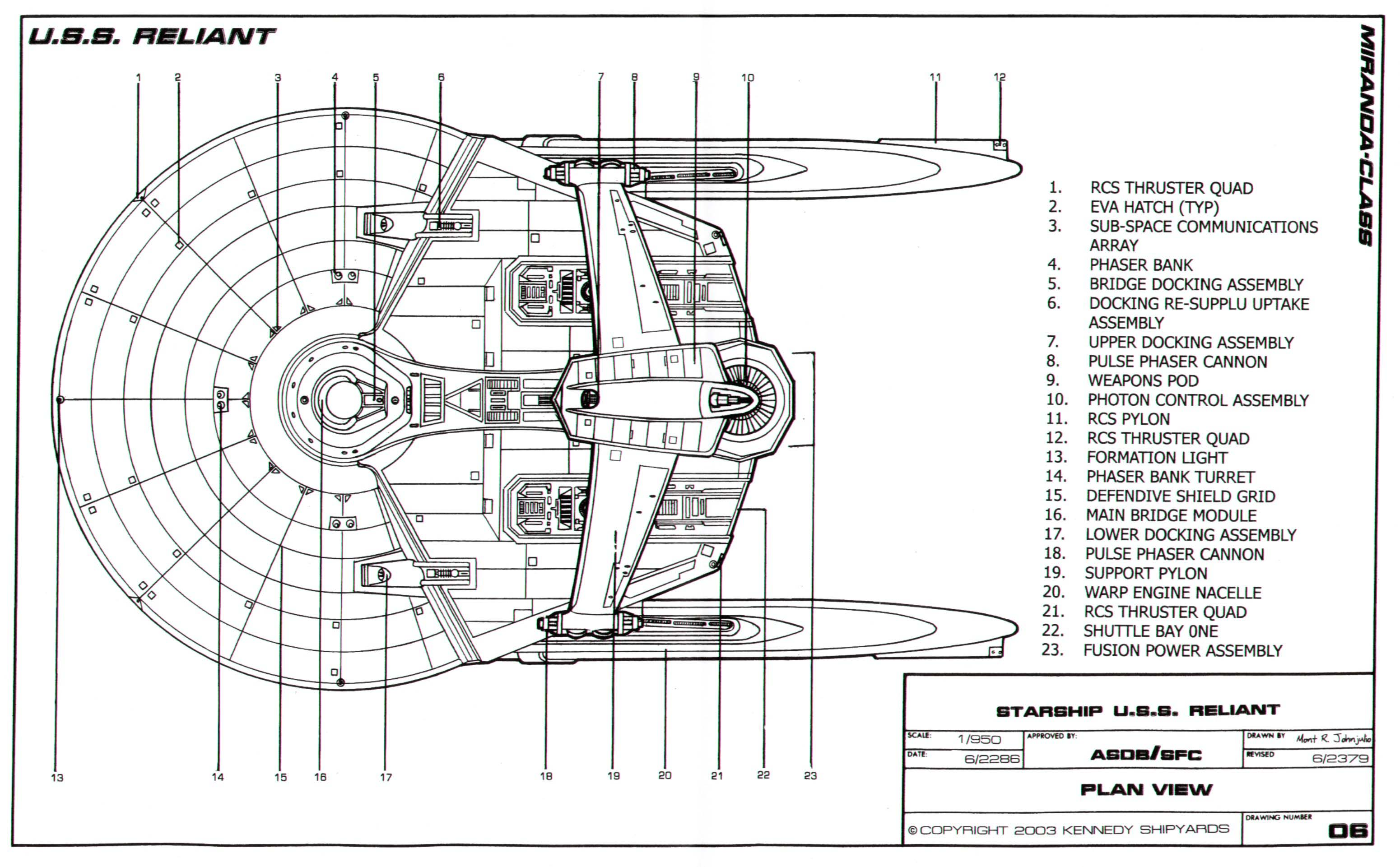 Star Trek Blueprints Miranda Class Starship U S S
