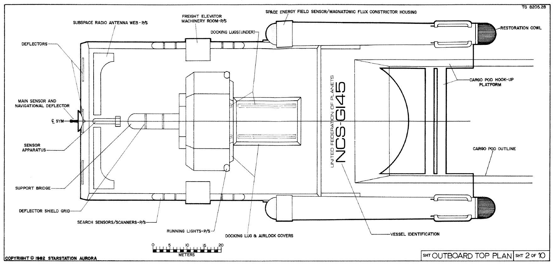 Star Trek Blueprints Sherman Class Cargo Drone