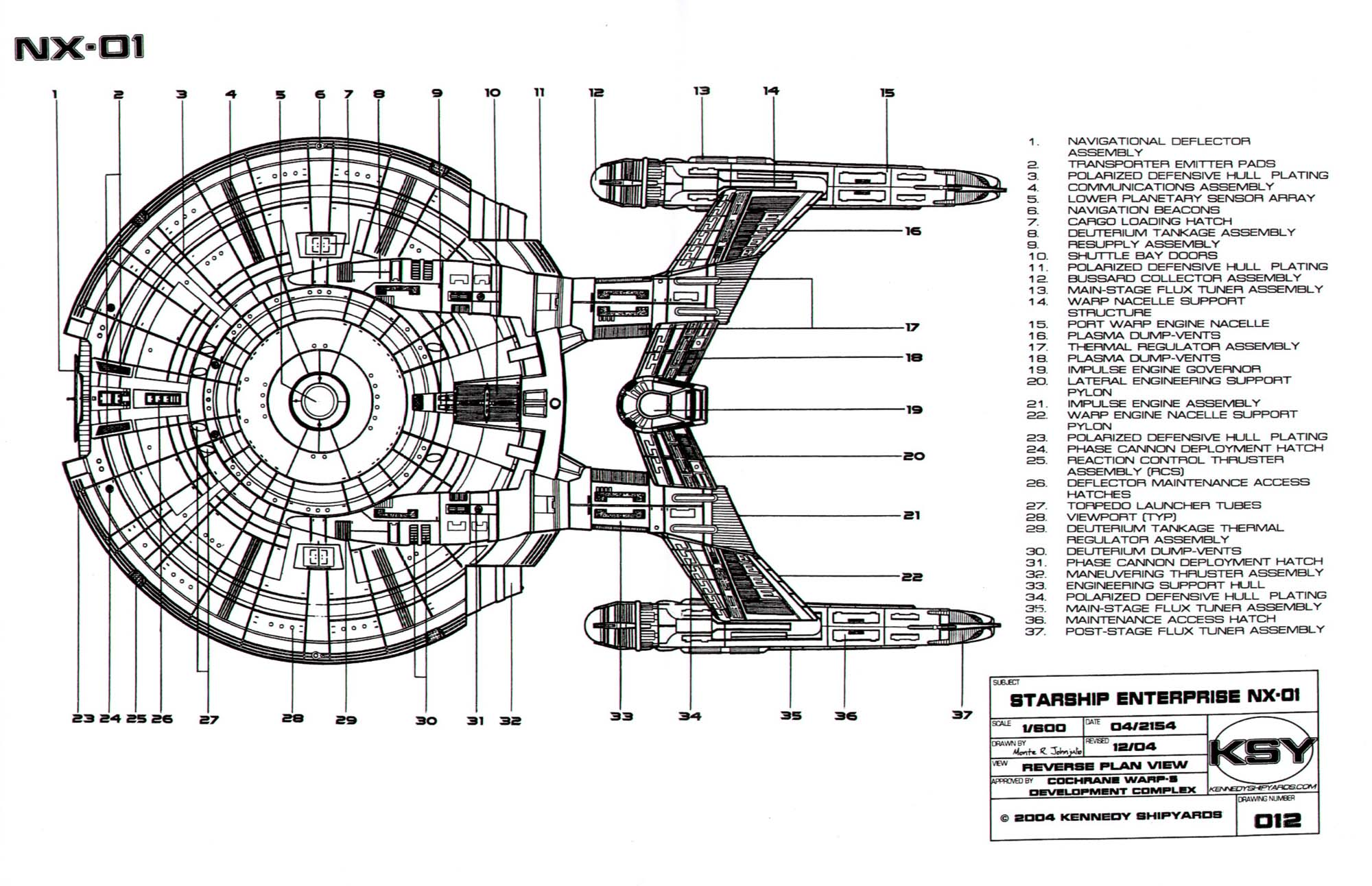 Star Trek Blueprints Starfleet Vessel Enterprise Nx 01