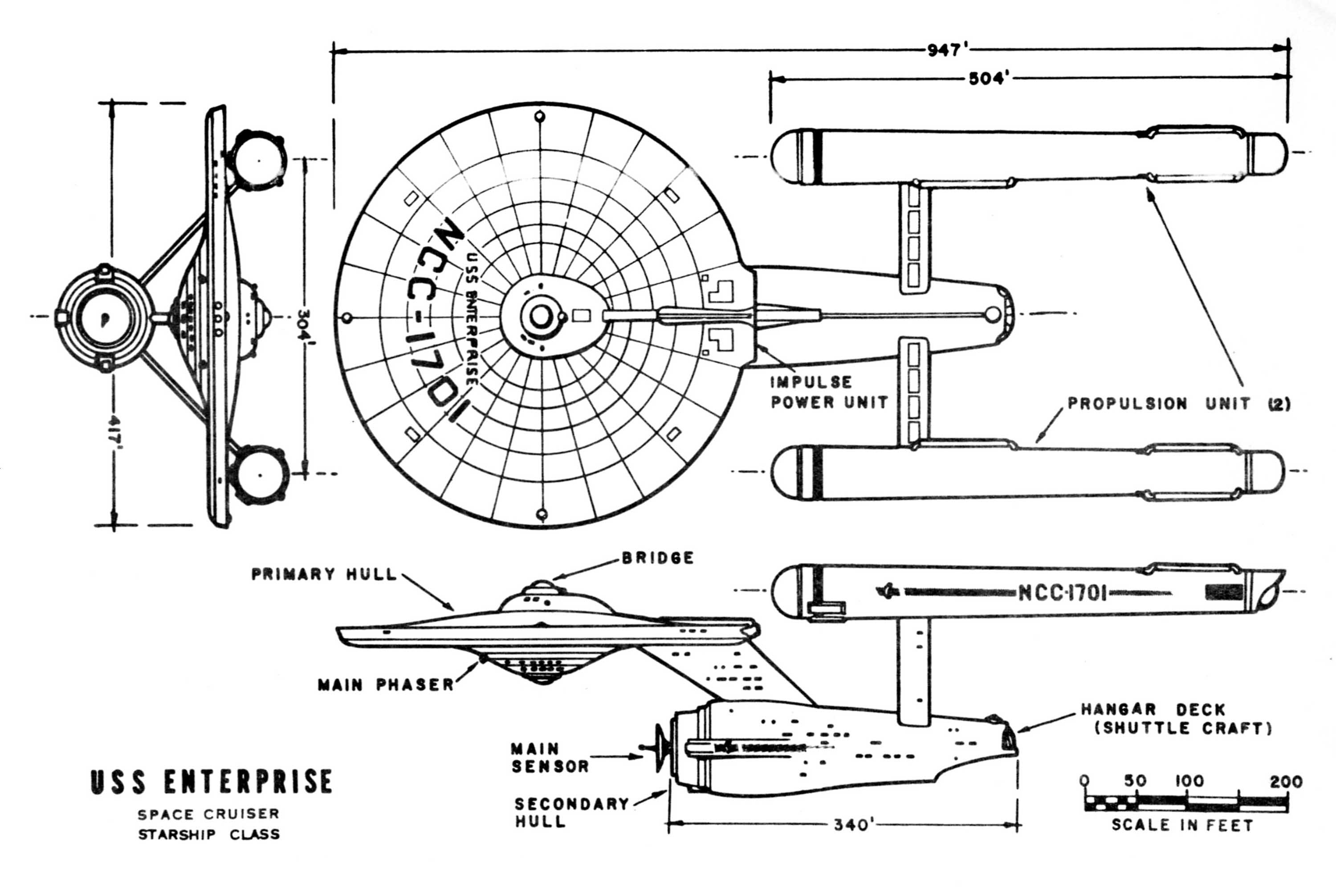 Star Trek Blueprints U S S Enterprise Space Cruiser