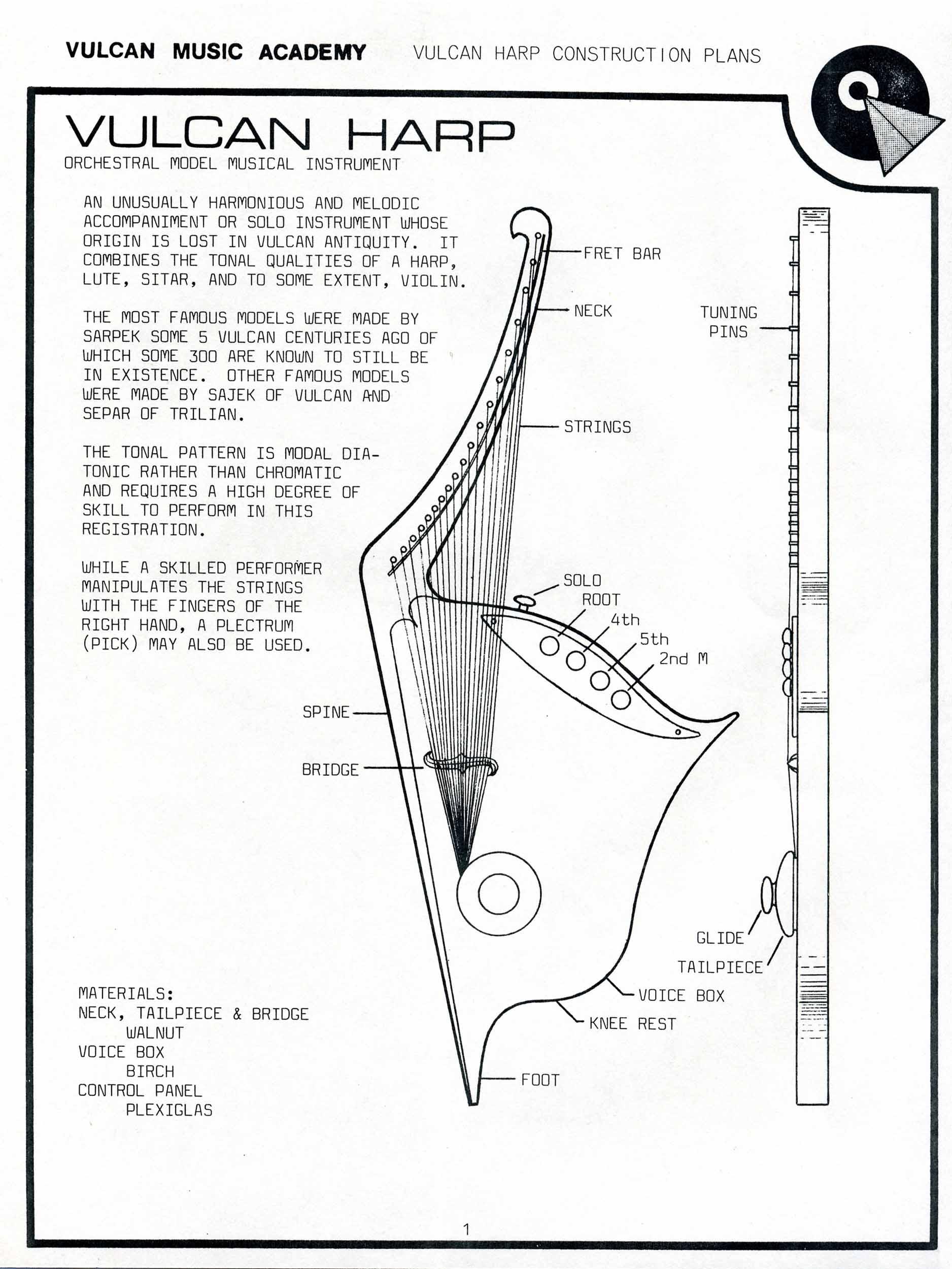 hight resolution of vulcan harp construction plans