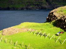 Utsikt över havet och en äng på Färöarna.