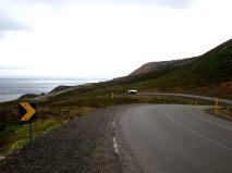 Väg längs med kusten på Norra Island