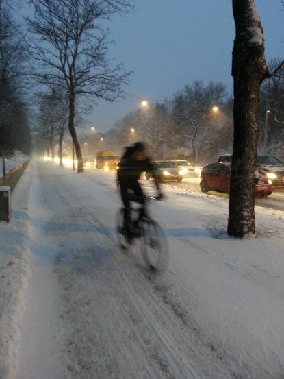 - Jag valde att gå. Skönt! Men rätt bra #plogat längs m drottningholmsvägen, bra där! Foto: Fial8tta/Twitter