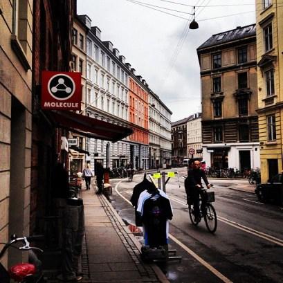Elmegade på Nørrebro bjuder på bra mat, öl och shopping. Mysig gata för cykelspaning.