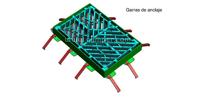 Reja imbornal Maremagnum 750x500 Fundición Dúctil D400 - Garras de anclaje