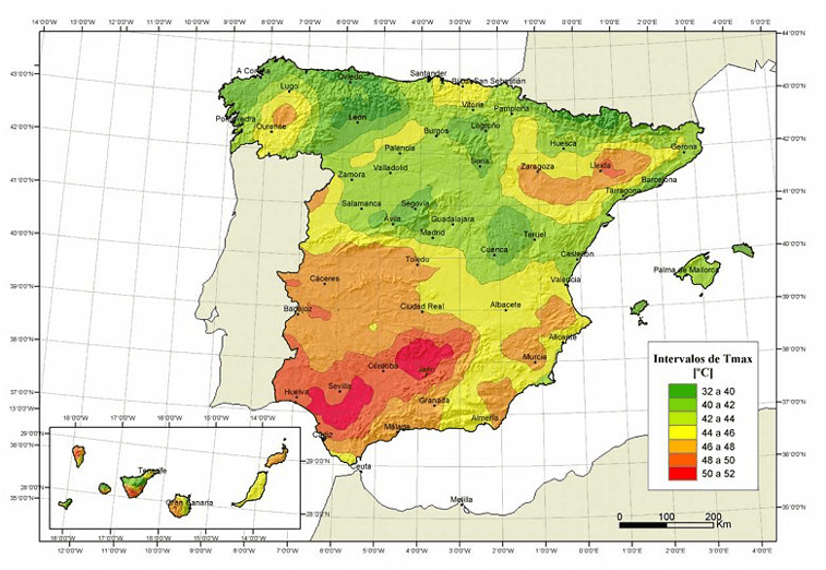 Mapa de temperaturas máximas del Anejo E del CTE-DB-AE.