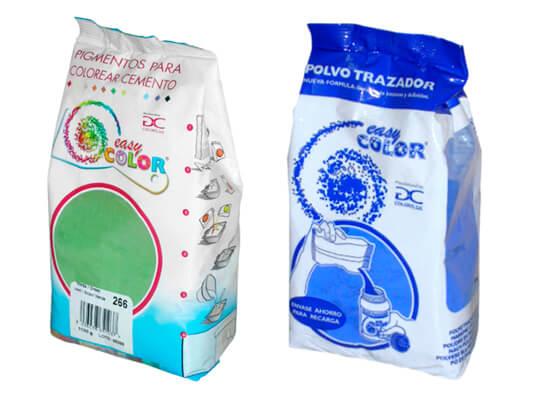 Dosis de pigmento en envases de polipropileno, polietileno y plástico hidrosoluble.