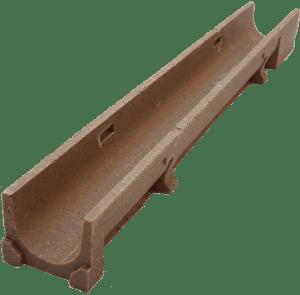 Canaleta de hormigón polímero de 125x1000 mm sin pendiente