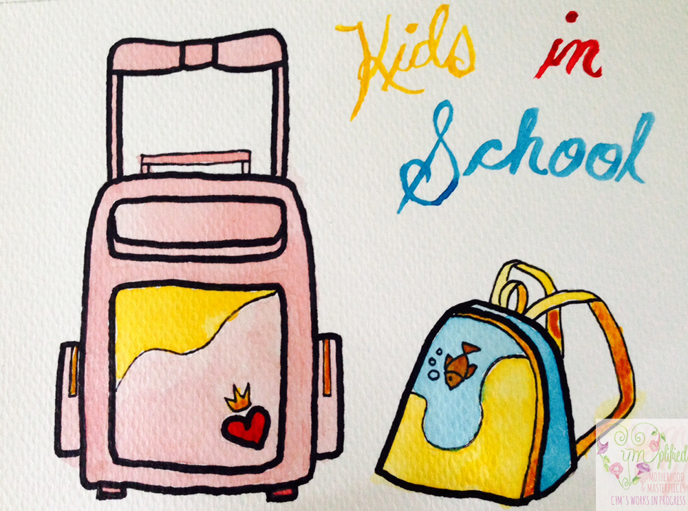 two kids in school school bags painting