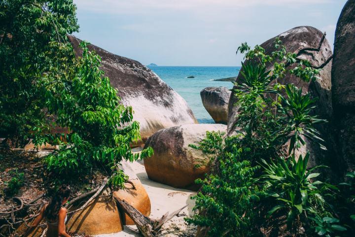 big rocks next to the sea