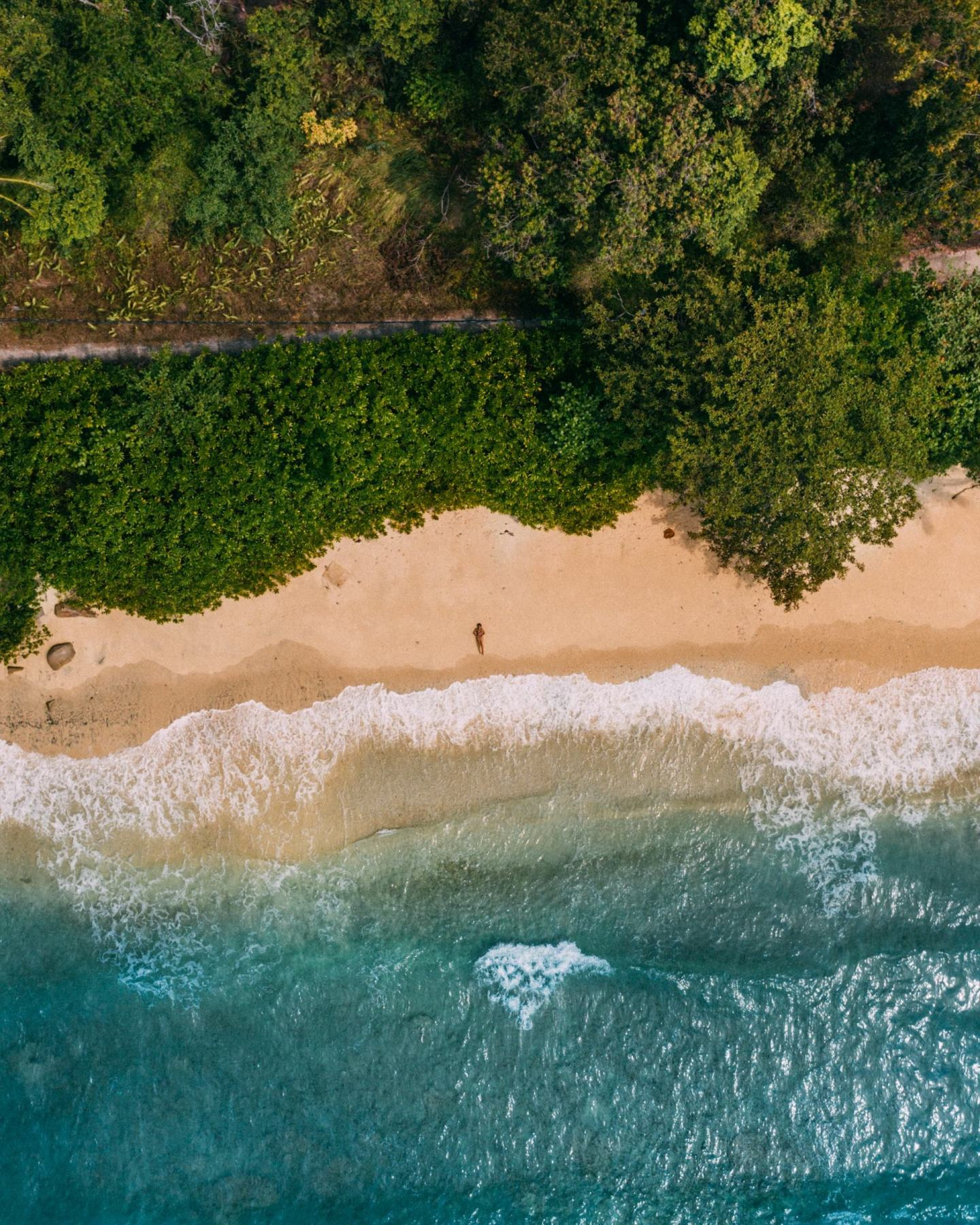 women at the beach view from a drone