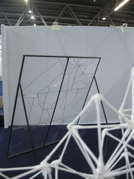 Le grand vitrail\nverre, plomb, etain, acier.\n180 x 150 x 90 cm.