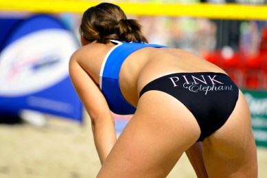 Volleyball Chycks. If you don't want me to read your butt why is there writing on it?