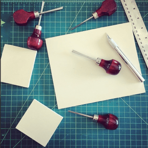 Getting ready to carve rubber stamps