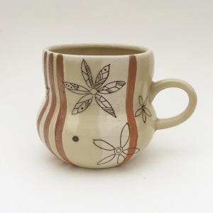 Mug with laser toner floral decals