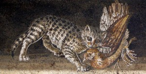 Floor mosaic from House of the Faun, Pompeii.Cat with bird. Ducks and sea life. Museo Archeologico Nazionale Napoli Inv. 9993
