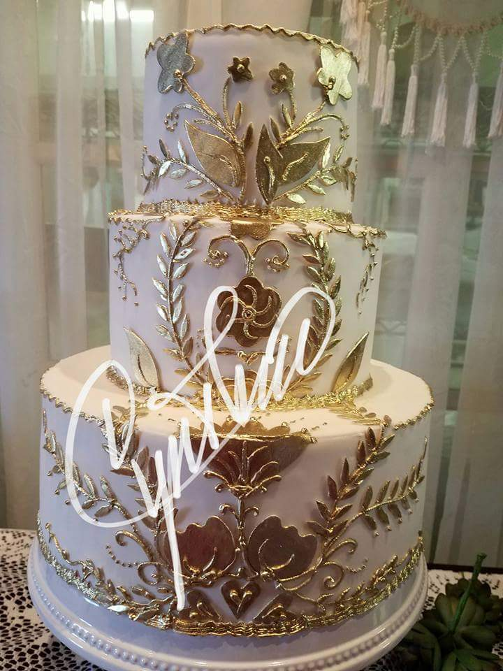 18kt Gold Wedding Cake Cynthias Cakes LLC
